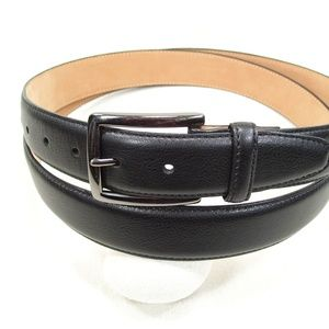 Dockers Black Leather Belt Antiqued Brass Buckle